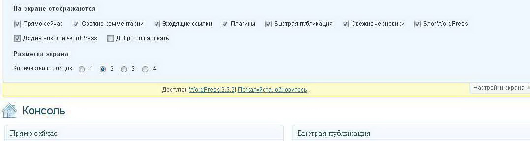Настройка WordPress.экран.